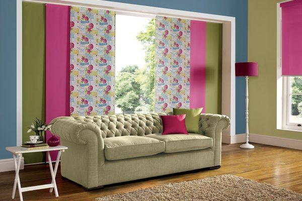 paneltracki zielone rozowe wzory salon