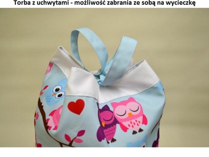 torba na zabawki niebieska sowki uchwyty