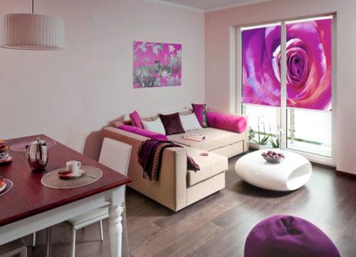 fotoroleta salon roza