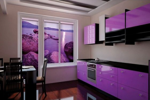 fototapeta kuchnia fiolet