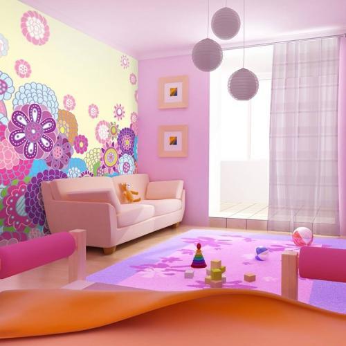 pokoj dzieciecy fototapeta rozowa