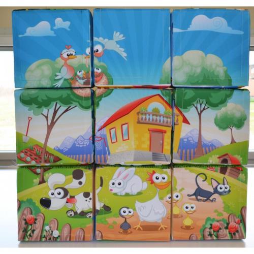 pufa kostka puzzle dom zwierzeta drzewa