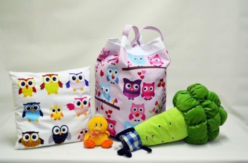 torba na zabawki rozowa poduszka sowy borkul kaczka